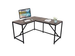 L-Shaped Corner Desk Computer Office Desk Gaming Desk PC Laptop Gaming Table Workstation Modern Style For Home Office Solid Metal Frame With Foot Rest,Walnut,GT51