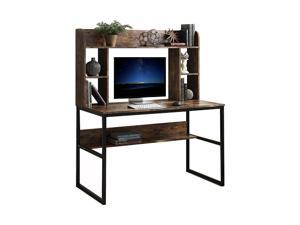 Home Office Computer Desk with Hutch, 47 inch Rustic Office Desk and Modern Writing Desk with Storage Shelves , Vintage and Black Legs,GT53