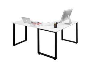 L-Shaped Desk Corner Computer Game Desk PC Laptop Desk Study Desk With CPU Storage Modern Desk With Large Workstation Gaming Desk Home Office Desk,White,GT70