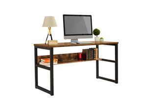 """55.1"""" Computer Desk with Bookshelf, Modern Office Desk with Storage Shelves, Large Computer Table, Sturdy Writing Table Workstation for Home Office, Wood and Metal Frame,GT64"""