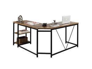 """L-Shaped Computer Desk, Corner Desk, 59.1""""L x 19.7""""W x 30.7""""H Writing Study Workstation with Shelves for Home Office, Gaming Table, Space-Saving, Easy to Assemble, Industrial, Brown,GT77"""
