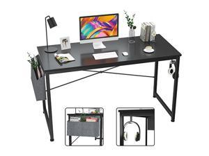 Computer Desk 47 inch Home Office Writing Study Desk, Modern Simple Style Laptop Table with Storage Bag,Rustic Black,GT104