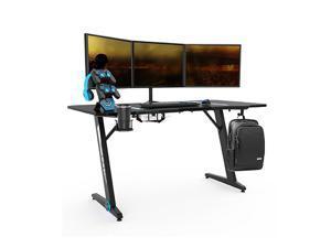 58 Inch Large Ergonomic Gaming Desk Z Shaped Office PC Computer Desk with Headphone Holder,Cup Holder,Plug Board holder,Game Handles Holder,GT176