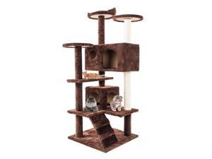 52 Inches Multi-Level Cat Tree Tower with Sisal Covered Scratching Post Cat Condo Pet House Furniture for Kitties, Stable, Brown,DS38