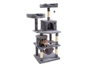 57.08 inches Multi-Level Cat Tree for Large Cats, with Cozy Perches, Stable Cat Tower Cat Condo Pet Play House,Gray,DS53
