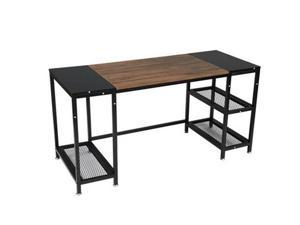 Computer Desk for Home Office,Laptop Desk with Metal Drawer,Industrial Study Writing Table with Storage Shelves,Simple Table with Splice Board,59 inches,Brown and Black,GT188