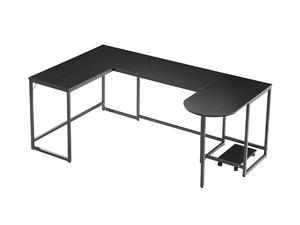 U-shaped Computer Desk, Industrial Corner Writing Desk with CPU Stand, Gaming Table Workstation Desk for Home Office,Black,GT191