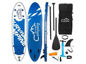 11' Premium Inflatable Stand Up Paddle Board, Yoga Baord with Durable SUP Accessories & Carry Bag | Wide Stance, Surf Control, Non-Slip Deck, Leash, Paddle and Pump for Youth & Adult, Blue White, SP07