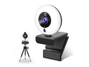 2K Webcam with Microphone Ring Light,HD Computer Camera with Privacy Cover & Tripod,Pro Streaming Web Cam for PC/MAC/Desktop/Laptop,USB Web Camera for YouTube, Skype, Zoom,Xbox One and Video Call,WC19