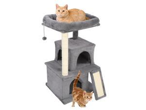 """34"""" Cat Climb Tree Holder, Small Cat Tower, Cat Condo with Basket, Cat Cave, Removable Washable Cover for Top Perch, for Small Spaces, DS78"""