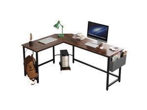 55 Inches Computer Desk L-Shaped Desk Corner Gaming Desk, PC laptop Computer Table Study Desk, Larger Gaming Desk Easy to Assemble, PC Laptop Table Workstation for Home Office,Brown,GT194