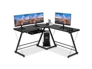 Gaming Desk, L-Shaped Professional E-Sport Gamer Workstation with Keyboard Drawer & Large Carbon Fiber Surface, Ergonomic PC Gaming Table for Home Office,Black,GT10
