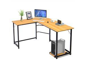 Computer Desk Gaming Desk Office L-Shaped Desk PC Wood Home Large Work Space Corner Study Desk Workstation, Beech Wood Color,GT04