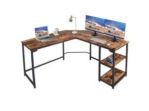 L Shape Computer Desk with 2 Storage Shelf Study Writing Table for Home Office, Modern Simple Style PC Desk, Black Metal Frame, Brown, GT189