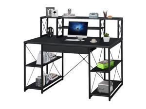 """47"""" Gaming Desk, PC Computer Desk, Home Office Desk,PC E-Sports Gaming Workstation Gamer Tables Writing Table with PC Stand Shelf Keyboard Stand, Black, GT99"""