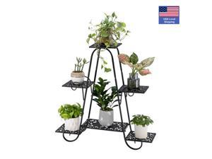 6-Tier Plant Stand for Indoor and Outdoor, Black Metal Flower Pot Shelf, Multi-Tiered Plant Pot Holding Display Rack,79*24.5*76cm,LS40