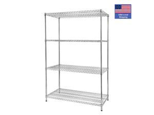 4-Shelf Wire Shelving Unit Storage Shelves Heavy Duty Shelving Metal Wire Shelf Standing Garage Shelves Storage Rack,LS17