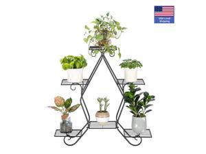 6-Tier Plant Stand for Indoor and Outdoor, Black Metal Flower Pot Shelf, Multi-Tiered Plant Pot Holding Display Rack,77*23.5*75cm,LS39