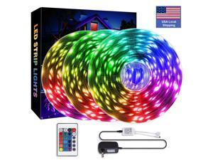 16.4FT/5M LED Strip Lights Remote Control 3528 Smart RGB Rope Lights Hilinston 24W Light Belt Set with 2A Power Supply 24 Key Controller for Kids Kitchen Room Lights,RL06