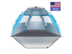 Outdoors Instant Shader Enhanced Pop Up Beach Tent Instant Sun Shelter with UPF 50+ UV Protection Double Silver Coating for Kids & Family Pacific Blue, BT04