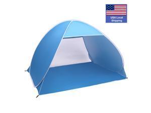 2-3 Person Beach Tent Pop Up Sun Shelter Tent Big Automatic Sun Umbrella 2-3 Person Fishing Beach Shelter, Blue , BT01