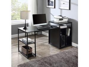 Volans Home Office Black Computer Desk with Storage Shelf,CPU storage space and Printer Stand /Writing PC Table with Space Saving Design