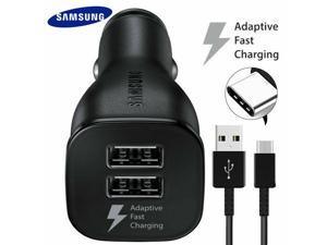 Adaptive Fast Charging Dual-Port Car Charger with USB Type C Charger Cable Compatible Samsung Galaxy S20 / S20+ / S10 / S10+ S9 / S9+ / S8 / S8 Plus/Active/Note 8 / Note 9 / Note 10