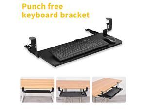 """Small Keyboard Tray Under Desk Pull Out with Extra Sturdy C Clamp Mount System, 9"""" (25 Including Clamps) x 5 inch Slide-Out Platform Computer Drawer for Typing, Black"""