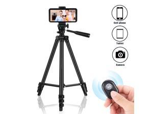 Phone Tripod 50'' Extendable Lightweight Aluminum Tripod Stand with Universal Cell Phone/Tablet Holder, Remote Shutter, Compatible with Smartphone & Tablet & Camera