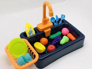 ZXSXRQPA Kitchen Sink Toys,Kitchen Sink Toys with Play Food, Children Electric Dishwasher Playing Toy with Running Water, Automatic Water Cycle System Play House Pretend Role Play Toys for Boys Girls