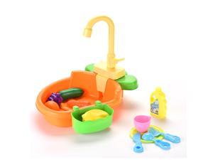 Kitchen Sink Toy with Play Foods,Kids Kitchen with Real Water, cocina para niños con agua,Children Electric Dishwasher Playing Toy with Running Water, Baby Sink Toy with Real Water