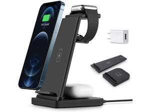 Sloovery Wireless Charging Station QI 3 in 1 Fast Wireless Charger Stand,for for iPhone 12/11/11 Pro Max/XR/XS Max/Xs/X/8/8P, iWatch 6/5/4/3/2 AirPods Pro/Airpods 2,Sangsung(with QC3.0 Adapter)