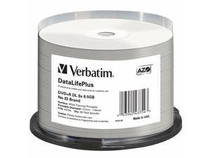 Verbatim DVD+R DL 8.5GB 8X DataLifePlus White Thermal Printable 50-Pack Spindle