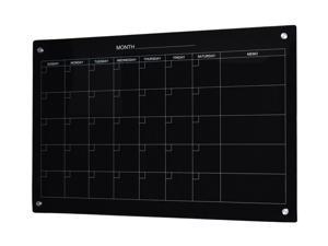 Audio-Visual Direct Magnetic Black Calendar Glass Dry-Erase Board Set - 23 5/8 x 35 1/2 Inches -