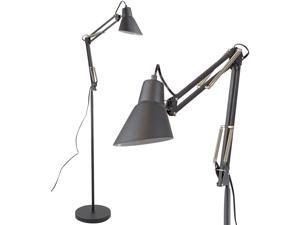"Architect Reading Floor Lamp by Light Accents Adjustable Arm Bright Standing Lamp Showroom Quality 65"" Tall (Black)"
