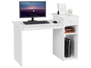 White Student Computer Desk with Drawer and Shelf Home Office Laptop Table Study Workstation Furniture Wood Heavy Duty,hot sale