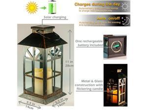 Christmas gift Solar Lantern–Outdoor Classic Decor Bronze Antique Metal and Glass Construction Mission Solar Garden Lantern Indoor and Outdoor Solar Hanging Lantern Entirely Solar Powered