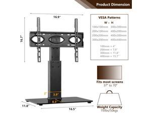 Durable Universal Table Top TV Stand Base with Swivel Mount Bracket and 6 Level Height Adjustable for 37 to 65 inch Plasma LCD LED Flat or Curved Screen TVs,VESA Patterns up to 400mm x 400mm