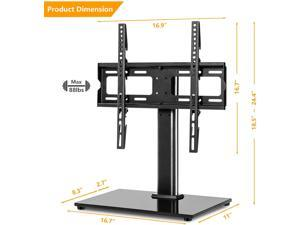 Durable Universal Swivel Tabletop TV Stand Base with Mount for 27 32 37 40 42 46 50 55 inch LCD LED Plasma Flat Screens, Height Adjustable TV Base Replacement,Tempered Glass Base,Holds up to 88lbs