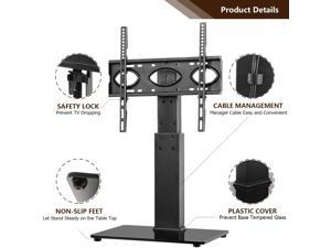Hot sale Universal Table Top TV Stand Base with Swivel Mount Bracket and 6 Level Height Adjustable for 37 to 65 inch Plasma LCD LED Flat or Curved Screen TVs,VESA Patterns up to 400mm x 400mm