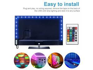 Safe to use RGB LED Strip Lights, 16.4ft  Battery Powered Color Changing Light Strip with 24Key Controller, Waterproof RGB LED Battery Rope Lights Dimmable for Home, Yard, Balcony