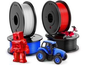 3D Printer PLA Filament 1.75mm,Plastic 3D Printing PLA Filament Bundle 1kg/2.2lb, 0.25KG/Spool 4 Colors (White, Red, Black, Blue)