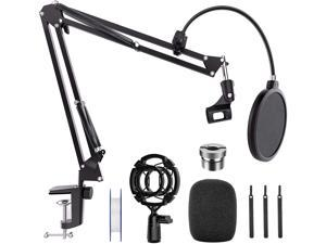 "Microphone Stand Desk, Professional Adjustable Mic Stand Suspension Boom Scissor Arm Stand with Pop Filter, 3/8"" to 5/8"" Screw Adapter, Mic Clip, Heavy Duty Clamp for Blue Yeti Snowball Recording"