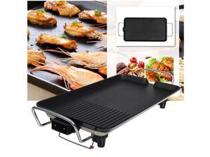 Easy to Clean Electric Smokeless Indoor Grill, Large Non-Stick Cooking Surface, Temperature Control for Smoke-Free BBQing, Dishwasher Safe Removable Water Tray, Portable Kitchen Griddle, Black