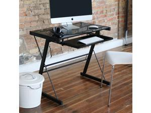 Black-Glass Top Computer Desk with Pull-Out Keyboard Tray