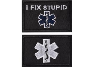 I Fix Stupid EMT Medic Funny Tactical Military Morale Patch Hook & Loop Tactical Patch