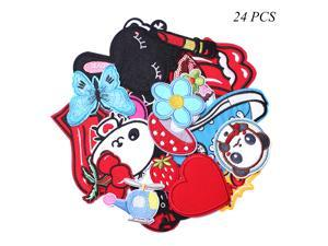 J.CARP Assorted Styles Cool Embroidered Iron Patch on Cute Sewing Applique Applique for Jacket Hat Backpack Jeans Sewing Flowers Applique DIY Accessory (24pcs)