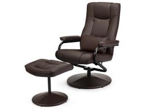 Recliner Chair Swivel Armchair Lounge w/ Ottoman&Lumbar Support Brown