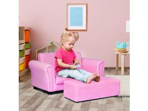 Pink Kids Sofa Armrest Chair Couch Lounge Children Birthday Gift w/ Ottoman