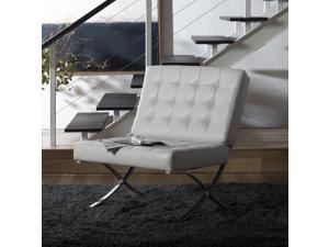 Home Atrium Lounge, Accent Chair in White Bonded Leather and Chrome Metal